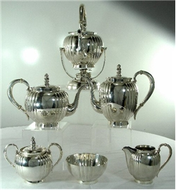 6-PC TEA & COFFEE SET w/KETTLE ON STAND