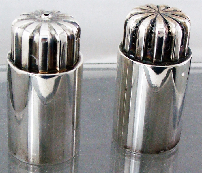 GEORG JENSEN BERNADOTTE STERLING SILVER SALT & PEPPER SHAKERS #834