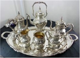 FAB. INTERNAT. RICHELIEU Sterling Silver 7-PIECE TEA SET Includes TRAY + KETTLE