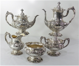 FRANCIS I R&B FIVE PIECE STERLING TEA SET