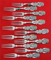 BLACKBERRY by Tiffany Sterling Silver Set of STRAWBERRY FORKS