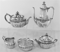 ENGLISH KING By Tiffany Sterling Silver 5-Pc Coffee and Tea Service, No Mono
