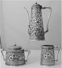 REPOUSSE THREE PIECE TEA SET