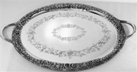 Magnificent Hand Decorated Sterling Silver Tray with Handle