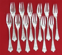 "PERSIAN All Sterling Set of 12 Pastry Forks, 3-Tine, 6 1/4"", MN"