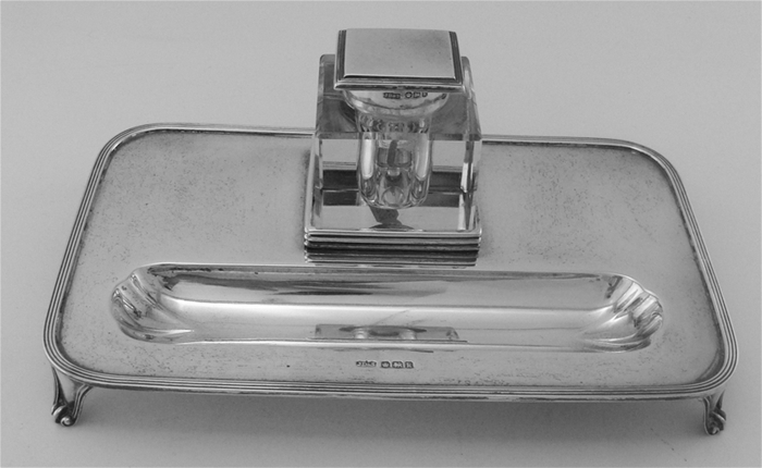 English by J.D.&S STERLING SILVER Inkwell and Pen Tray Desk Accessory Set