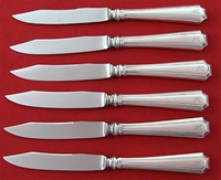 Fairfax Sterling Silver 6 Fruit Knives w/Stainless blade, 7""