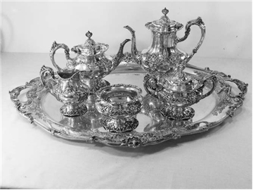 FRANCIS I Sterling Silver 6-PC TEA SET W/ LARGE TRAY,No Mono