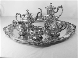 R&B FRANCIS I Sterling Silver 6-PC TEA & COFFEE SERVICE W/ LARGE TRAY, No Monogr