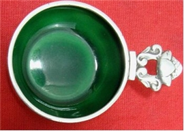 ACORN OPEN SALT ,GREEN ENAMEL
