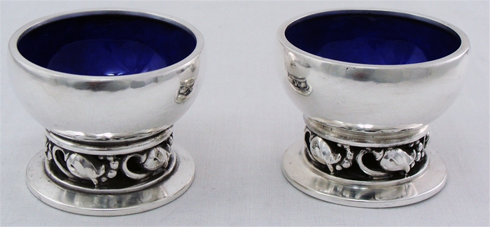 BLOSSOM by George Jensen a pair of Sterling Silver SALT CELLAR #2A