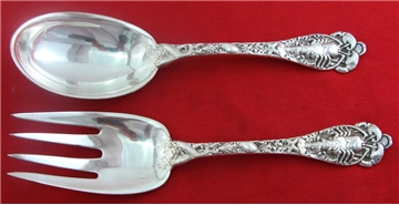 "OLD Watson Sterling Silver 9 1/4"" EMBOSSED LOBSTER SALAD SET, Sea Motif, No Mono"