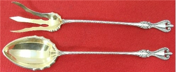 OLD COLONIAL LETTUCE FORK AND SPOON SET, Gold Wash